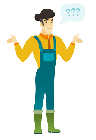 Confused farmer in coveralls with spread arms. Full length of confused farmer with question marks. Confused farmer shrugging shoulders. Vector flat design illustration isolated on white background.