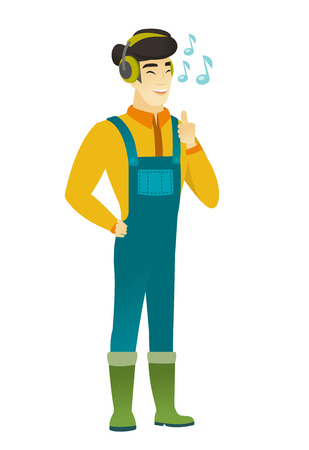 Asian farmer in coveralls listening to music in headphones. Full length of farmer with closed eyes listening to music in headphones. Vector flat design illustration isolated on white background.