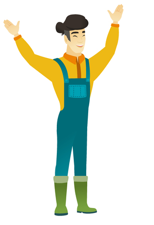 asian farmer: Successful young asian farmer jumping with raised arms up. Full length of happy farmer jumping in the air and celebrating success. Vector flat design illustration isolated on white background.