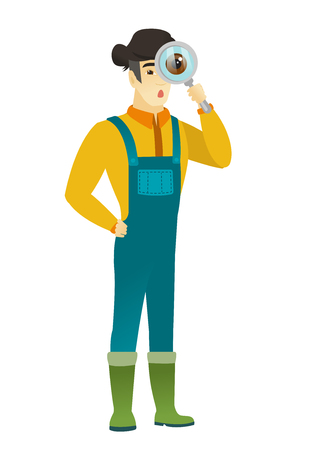 Shoked farmer with magnifying glass. Full length of farmer with magnifying glass. Farmer in coveralls looking through a magnifying glass Vector flat design illustration isolated on white background.