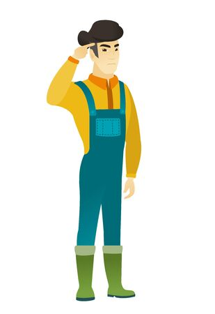 Angry asian farmer gesturing with his finger against his temple. Full length of farmer in coveralls twisting his finger against temple. Vector flat design illustration isolated on white background. Illusztráció