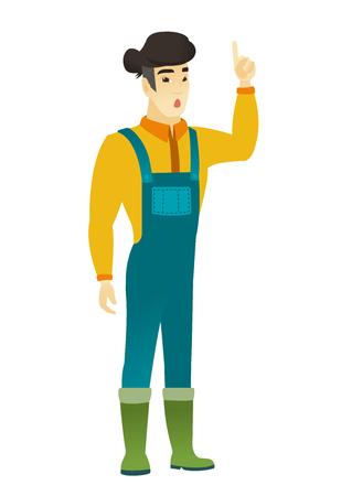Verraste Aziatische landbouwer in overtrekken met open mond die vinger benadrukken. De volledige lengte van jonge landbouwer met open mond kwam met een idee op de proppen. Vector platte ontwerp illustratie op een witte achtergrond.