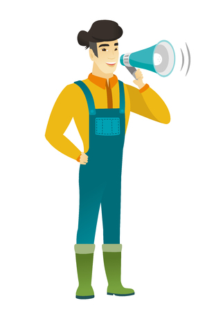 Asian farmer with a loudspeaker making an announcement. Full length of farmer in coveralls making an announcement through a loudspeaker. Vector flat design illustration isolated on white background. Illustration