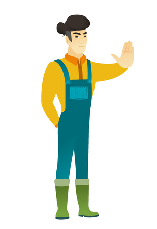 asian farmer: Asian farmer in coveralls showing stop hand gesture. Full length of young farmer doing stop gesture. Serious farmer with a stop gesture. Vector flat design illustration isolated on white background.