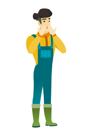 asian farmer: Shoked asian farmer in coveralls covering his mouth with hand. Full length of shoked farmer. Farmer with a shocked facial expression. Vector flat design illustration isolated on white background. Illustration