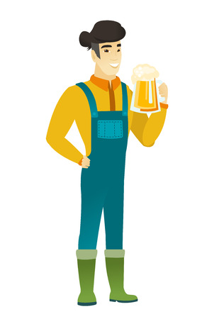 Cheerful asian farmer in coveralls drinking beer. Full length of smiling farmer with glass of beer. Young happy farmer holding mug of beer. Vector flat design illustration isolated on white background Illustration