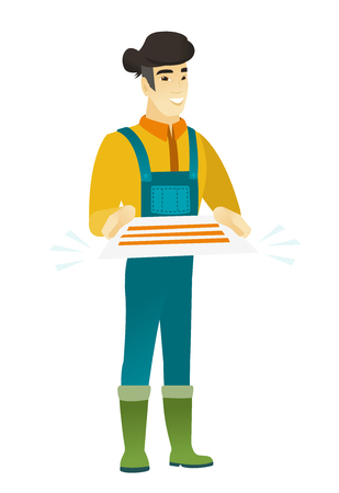 Cheerful asian farmer in coveralls holding a contract. Full length of smiling farmer with a contract. Young farmer holding a contract. Vector flat design illustration isolated on white background. Illustration