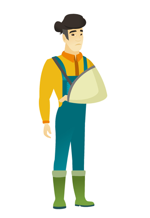 An injured asian farmer wearing an arm brace. Farmer with broken arm in sling. Full length of farmer in coveralls with broken arm. Vector flat design illustration isolated on white background. Illustration