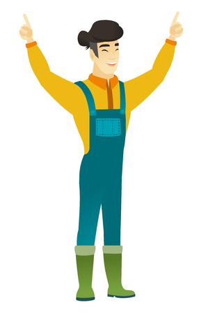 asian farmer: Successful asian farmer standing with raised arms up. Full length of young happy farmer in coveralls celebrating with raised arms up. Vector flat design illustration isolated on white background.