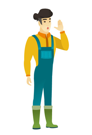 asian farmer: Asian farmer calling for help. Illustration