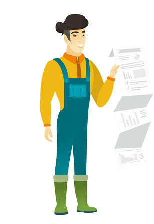 asian farmer: Smiling asian farmer in coveralls showing document with presentation. Full length of young farmer giving a presentation. Vector flat design illustration isolated on white background.