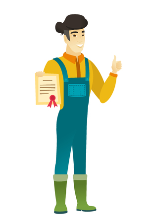 Asian farmer holding a certificate. Full length of young farmer with certificate. Farmer in coveralls showing certificate and thumbs up. Vector flat design illustration isolated on white background.