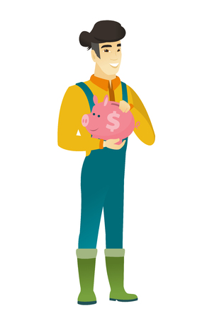 agrarian: Asian farmer holding a piggy bank. Illustration