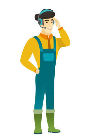 customer service phone: Asian farmer in headset with microphone. Illustration