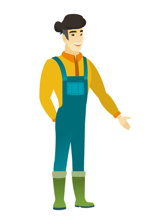 Asian farmer with hand in his pocket.