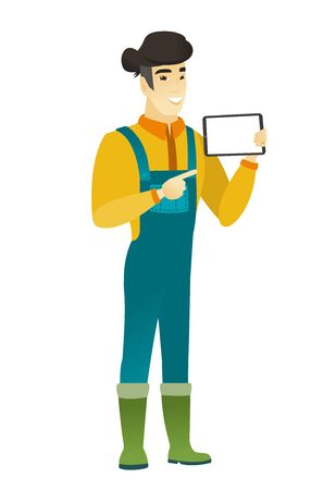 asian farmer: Asian farmer in coveralls holding a tablet computer. Full length of young farmer pointing at tablet computer. Farmer with tablet computer. Vector flat design illustration isolated on white background.
