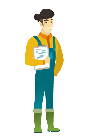 asian farmer: Asian farmer in coveralls holding a clipboard with documents. Full length of young farmer with documents. Farmer holding documents. Vector flat design illustration isolated on white background.