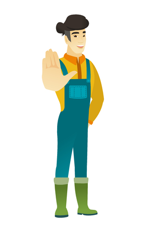 asian farmer: Asian farmer in coveralls showing palm hand. Full length of young farmer showing palm hand. Farmer making stop gesture by his palm. Vector flat design illustration isolated on white background.