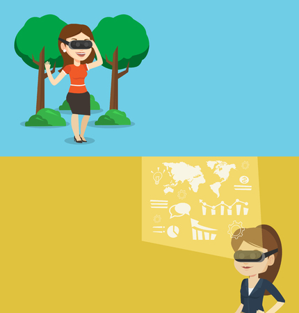 headset business: Two technology banners with space for text. Vector flat design. Horizontal layout. Businesswoman in vr headset looking at digital display. Businesswoman in vr headset analyzing visual business data. Illustration