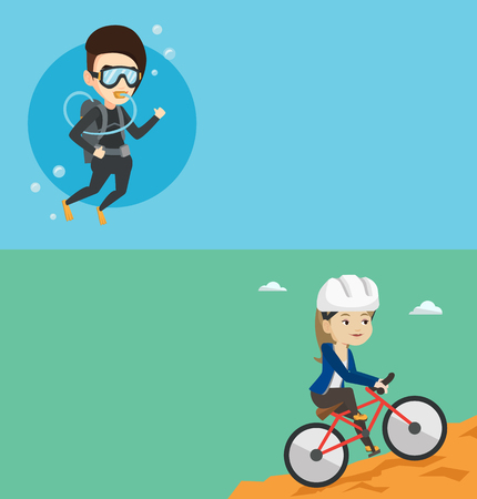 Two travel banners with space for text. Vector flat design. Horizontal layout. Extreme caucasian woman riding on mountain bike. Tourist in helmet traveling in the mountains on a mountain bicycle.