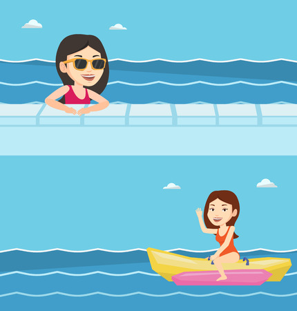 Two travel banners with space for text. Vector flat design. Horizontal layout. Young tourist riding a banana boat and waving hand. Woman having fun on banana boat. Woman enjoying ride on banana boat.