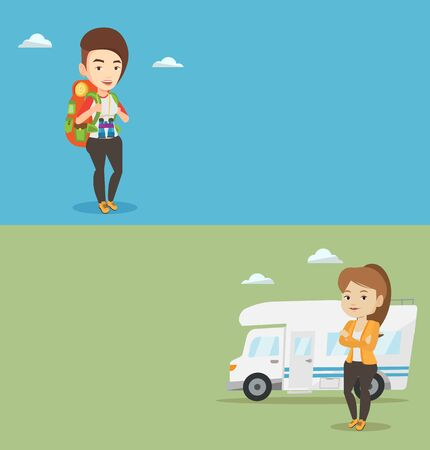 Two travel banners with space for text. Vector flat design. Horizontal layout. Caucasian woman enjoying her vacation in motor home. Woman standing in front of motor home. Woman traveling by motor home