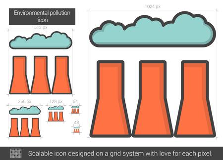 Environmental pollution line icon.