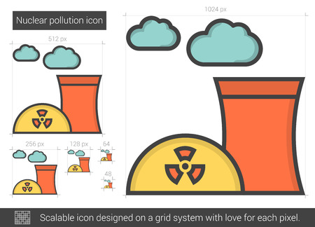environmental hazard: Nuclear pollution line icon. Illustration