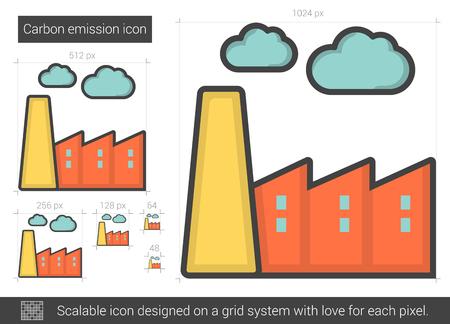 distill: Carbon emission line icon. Illustration