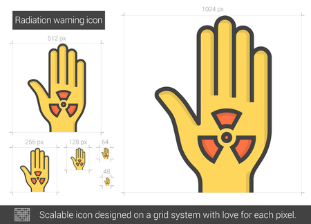 Radiation warning line icon. Stock Illustratie