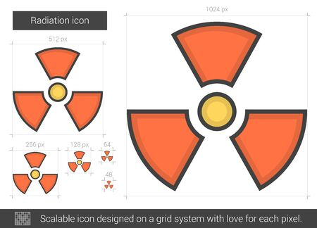 ionizing: Radiation line icon.