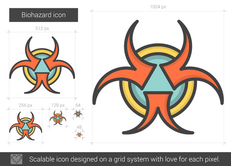 Biohazard line icon.