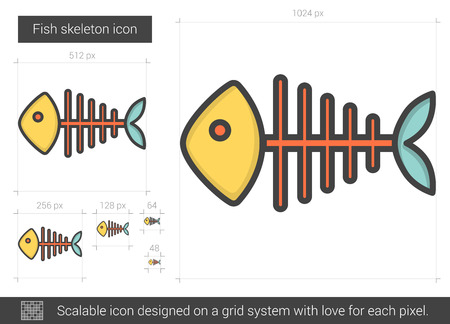 dead fish: Fish skeleton line icon. Illustration
