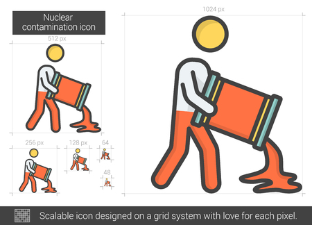 contamination: Nuclear contamination line icon. Illustration