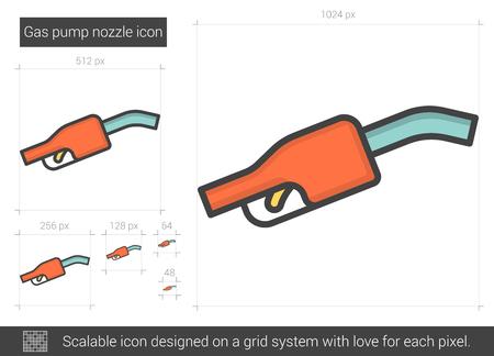 Gas pump nozzle line icon. Vectores