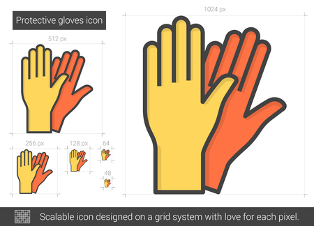 doctor gloves: Protective gloves line icon.