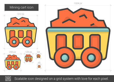 Mining cart line icon.