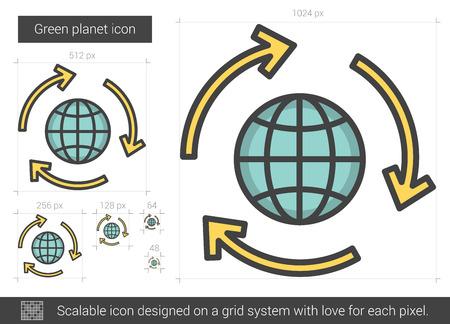 planeta verde: Green planet line icon.
