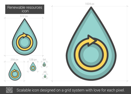 Renewable resources line icon.