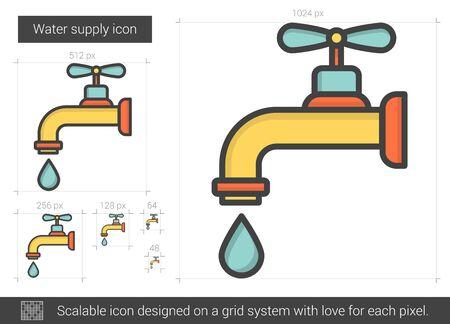 물 공급 라인 아이콘입니다. 스톡 콘텐츠 - 71455903