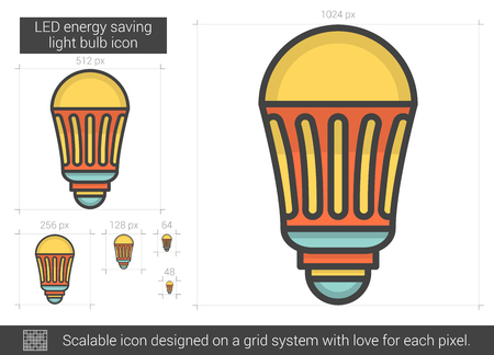 LED energy saving light bulb line icon.