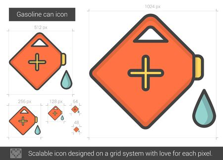 Gasoline can line icon. Illustration
