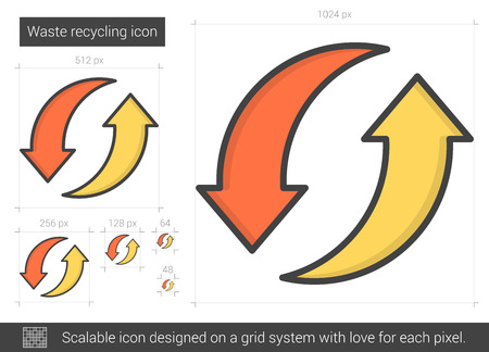 recycling: Waste recycling line icon.