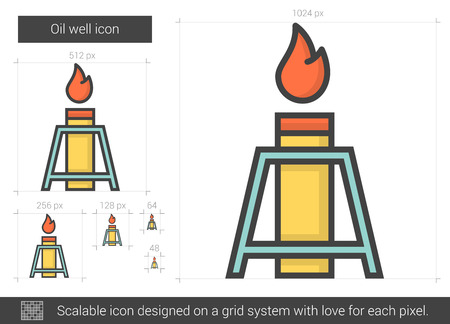 Oil well line icon. Illustration