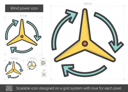 Wind power line icon.