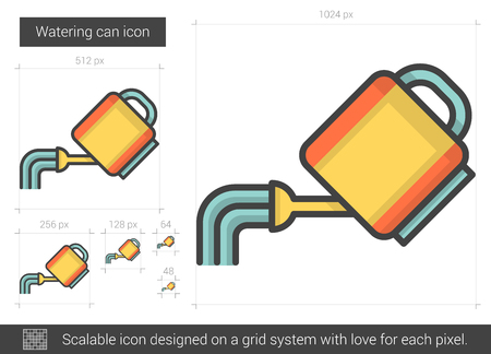 Watering can line icon. Vettoriali