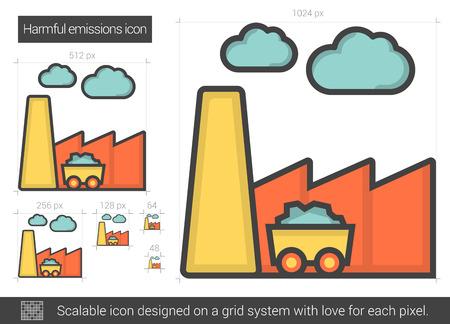 Harmful emissions line icon.