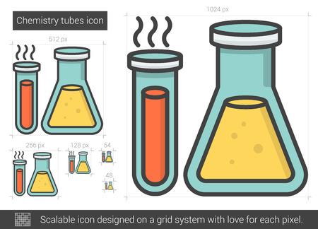 Chemistry tubes line icon. Illustration