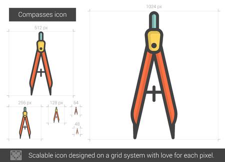 Compasses line icon. Illustration