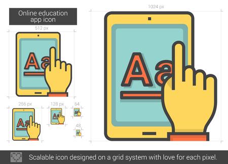 Online education app line icon. Illustration